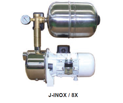 CEM Pumps and Blowers J-INOX with painted steel 8 litre accumulator