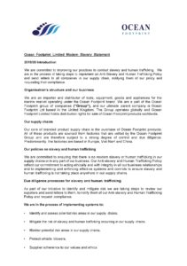 Ocean Footprint Ltd Modern Slavery Act Statement 2019-20
