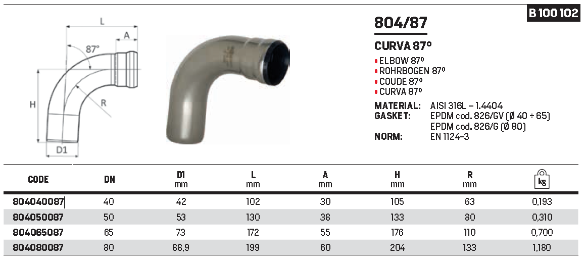 RACMET - Drain - 316L Elbow 87°