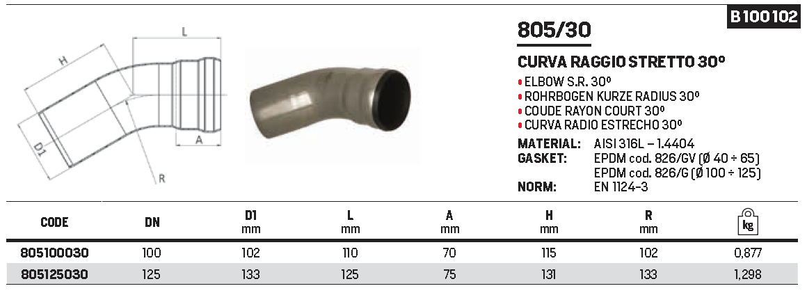 RACMET - Drain - 316L Elbow short radius 30°