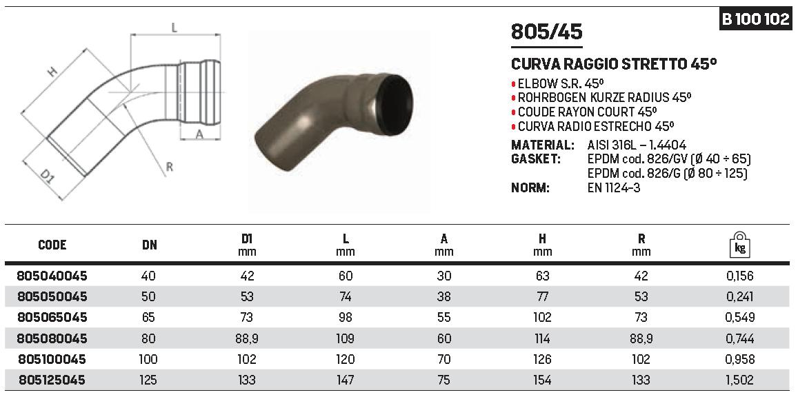 RACMET - Drain - 316L Elbow short radius 45°