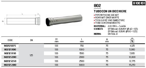 RACMET - Drain - 316L Pipe with 1 socket