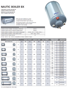 Quick BX Nautic Boiler - Calorifier Sheet